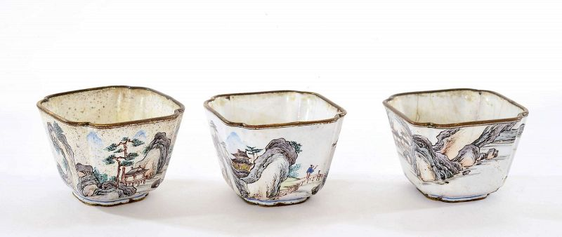 Set of 3 18C Chinese Canton Enamel Wine Tea Cup River Scene
