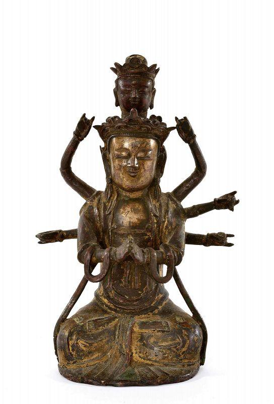 16/17C Chinese Gilt Lacquer Bronze 8 Arm Kwan Yin Buddha