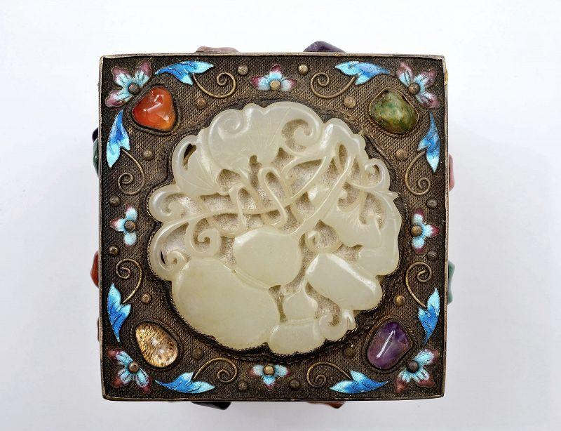 Chinese Silver Gilt Enamel Filigree Jade Carved Plaque & Jewels Box Mk