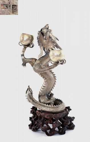 Chinese Sterling Silver Dragon Candle Holder Wood Carved Stand Mk