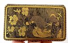 19C Japanese Mixed Metal Cigarette Card Case Komai, OTOJIRO