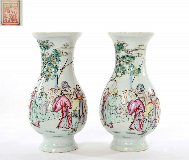 2 Old Chinese Famille Rose Porcelain Vase Journey to the West 西��