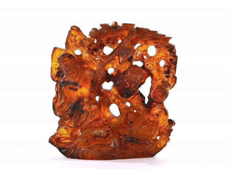 19C Chinese Cognac Honey Amber Carved Figure Figurine