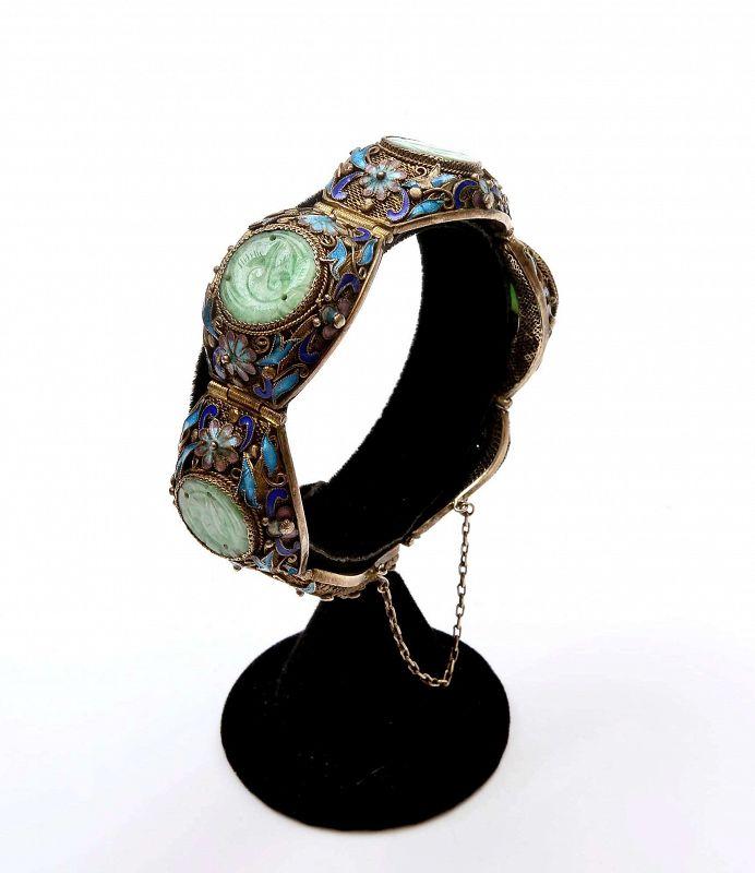 Chinese Jadeite Carved Plaque Crane Silver Enamel Filigree Bracelet Mk
