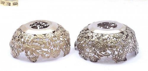 2 Old Chinese Sterling Silver Flower Bowl Wong Hing