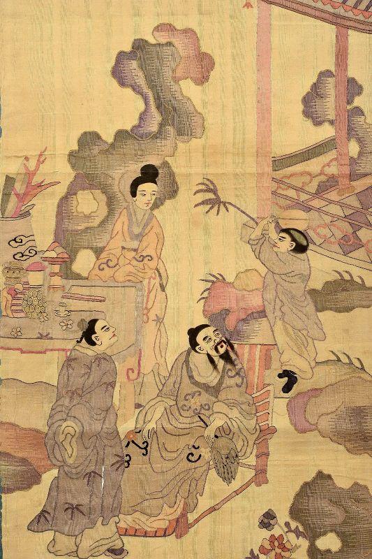 19C Chinese Silk Embroidery Textile Kesi Kossu Panel Tapestry  Figure