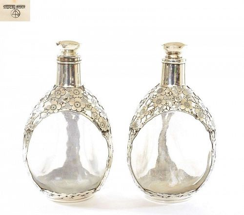 2 Chinese Export Sterling Silver Glass Decanter Plum Flower Blossom Mk