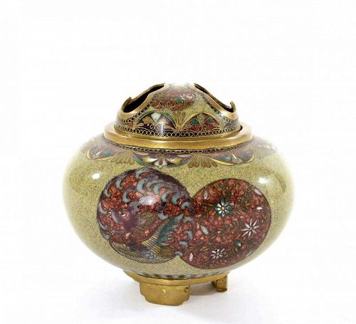 Old Japanese Cloisonne Enamel Incense Burner Censer Koro Flower