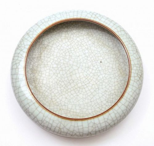 Old Chinese Guan Ge Type Crackle Porcelain Scholar Brush Bowl