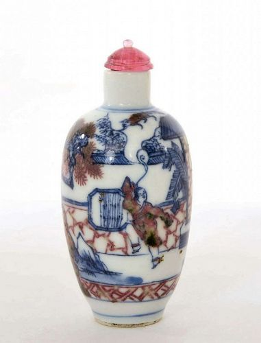 Old Chinese Blue & White Underglaze Copper Red  Snuff Bottle Figure