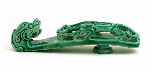19C Chinese Green Glaze Monochrome Porcelain Belt Hook Dragon