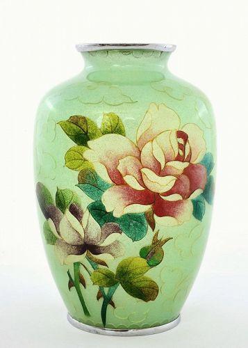 Japanese Plique a Jour Cloisonne Enamel Vase Roses Mint Green