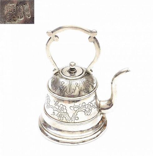 Old Chinese Sterling Silver Teapot Plum Tree Blossom Mk