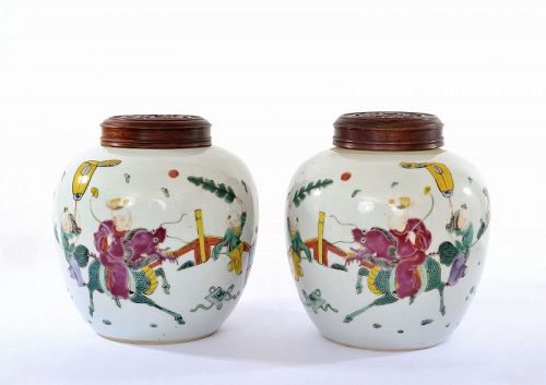 2 Old Chinese Famille Rose Porcelain Jar Boy Riding Kilin Wood Cover