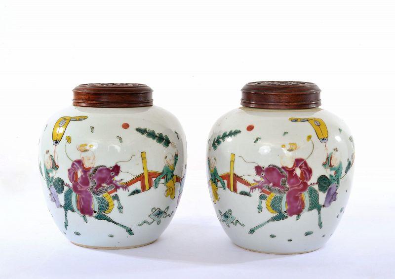2 Old Chinese Famille Rose Porcelain Jar Boy Riding Kilin Wood Cover