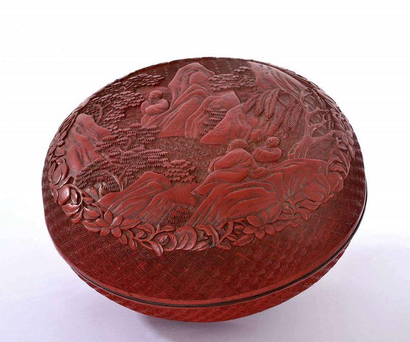 18/19C Chinese Deep Carved Cinnabar Round Box Scholar Figurine Figure