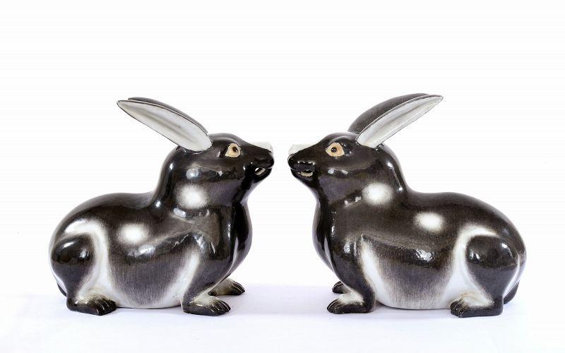 Pair of Old Japanese Kutani Porcelain Rabbit
