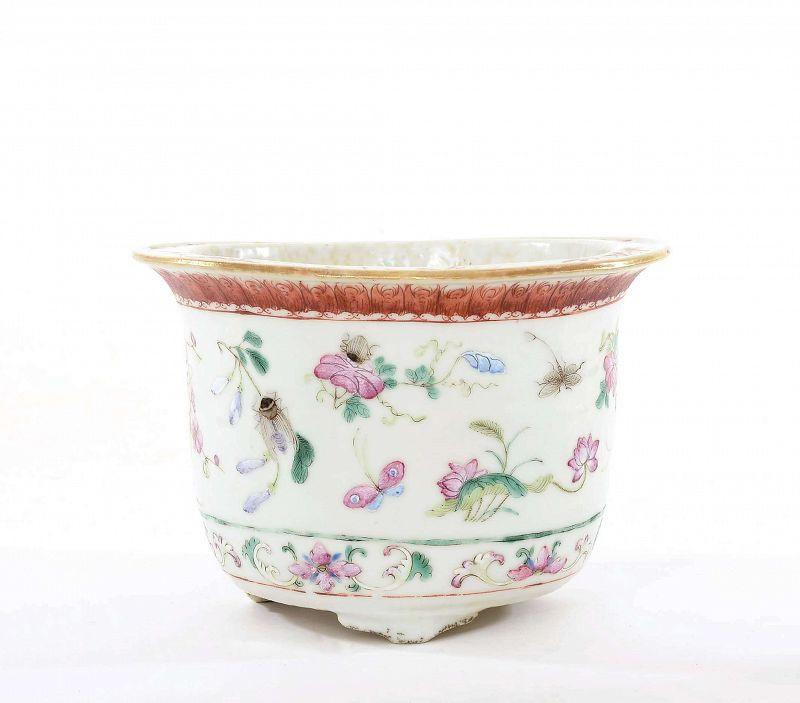 Old Chinese Famille Rose Porcelain Planter Pot Grasshopper & Flower
