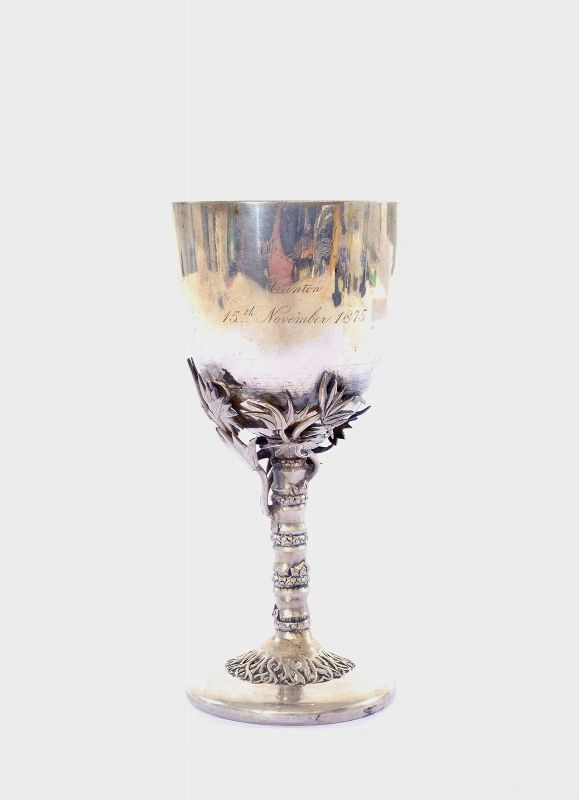 """Late 19C Chinese Sterling Silver Goblet Marked """"LC"""" """"�"""""""