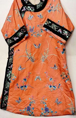 1900's Chinese Orange Silk Embroidery Lady's Robe Jacket Orchid Flower