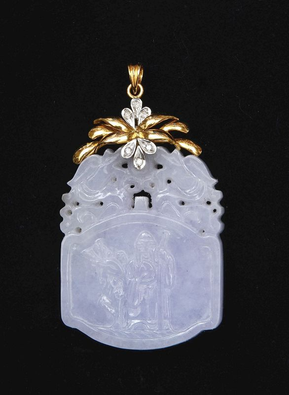 Chinese Lavender Jadeite Carved 14K Gold Diamond Plaque Pendant