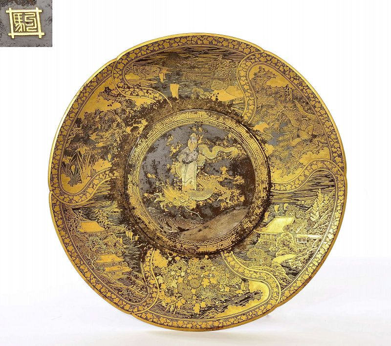 Meiji Japanese Komai Mixed Metal Gilt Iron Plate Immortal Dragon