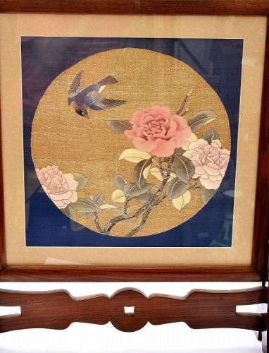 19C Chinese Silk Embroidery Kesi Kossu Rose Wood Carved table Screen