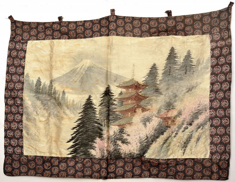 Meiji Japanese Silk Embroidery Wall Hanging Tapestry Temple Mountain