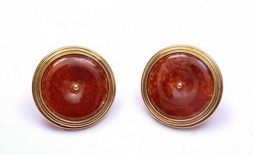 Chinese 14K Gold Red Jadeite Carved Disk Earrings