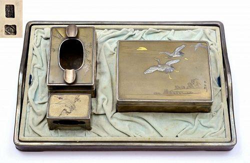 Set 4 Japanese Mixed Metal Silver Smoking Wood Tray Cigarette Box