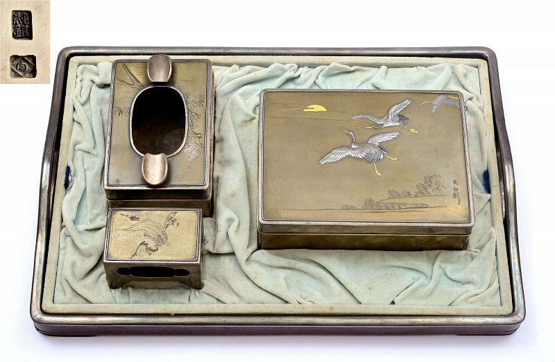 Set 4 Japanese Mixed Metal Silver Smoking Wood Tray Cigarette Box