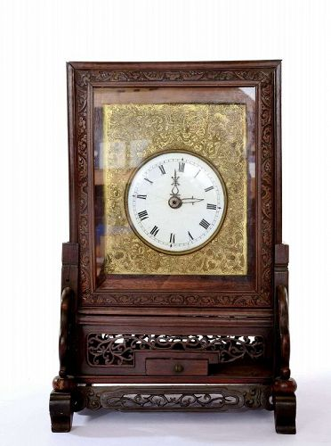 Old Chinese Bronze Bracket Clock Hardwood Carved Stand