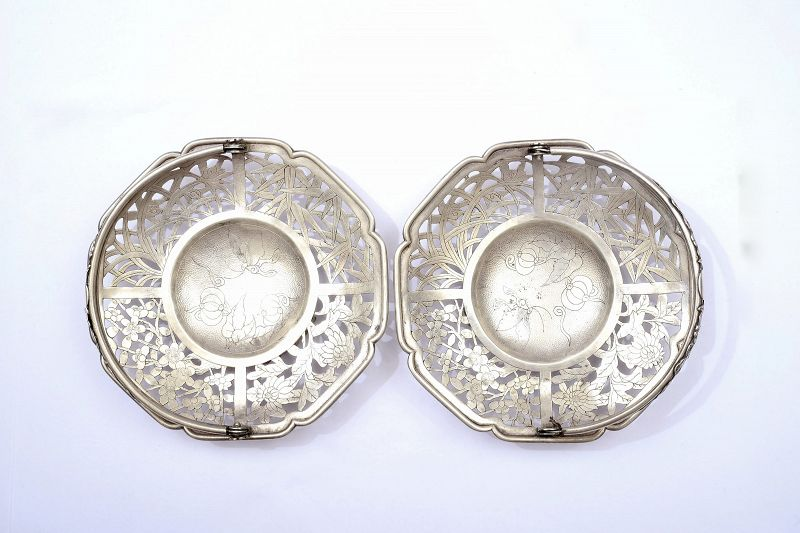 2 Old Chinese Sterling Silver Reticulated Bamboo & Flower Tray Basket