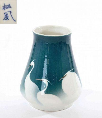 1910's Japanese Shofu Katei Studio Porcelain  Egret Vase