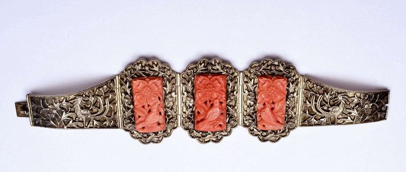 19C Chinese Solid Silver Coral Carved Bangle Bracelet Flower Bird Mk