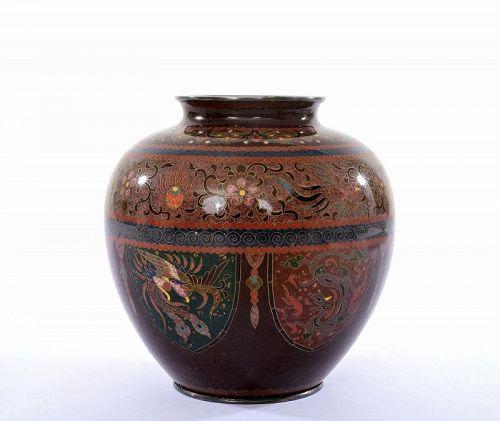 Old Japanese Goldstone Cloisonne Enamel Shippo Phoenix Dragon Vase