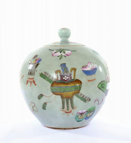 19C Chinese Celadon Famille Rose Porcelain Covered Jar Peach
