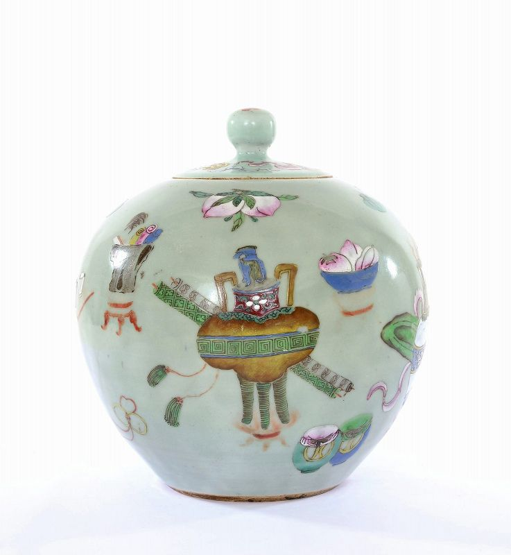 Old Chinese Celadon Famille Rose Porcelain Covered Jar Peach