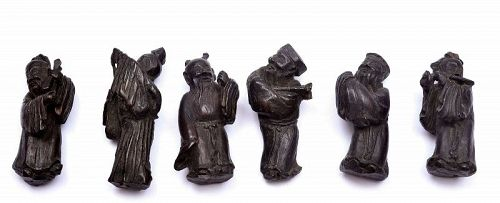 19C Chinese Zitan Wood Carved Carving Miniature 8 Immortal God 紫�