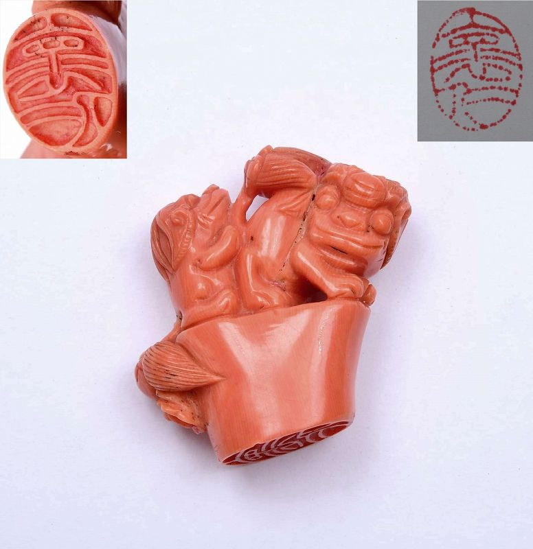 Old Chinese Coral Carved Foo Fu Dog Lion Scholar Chop Seal