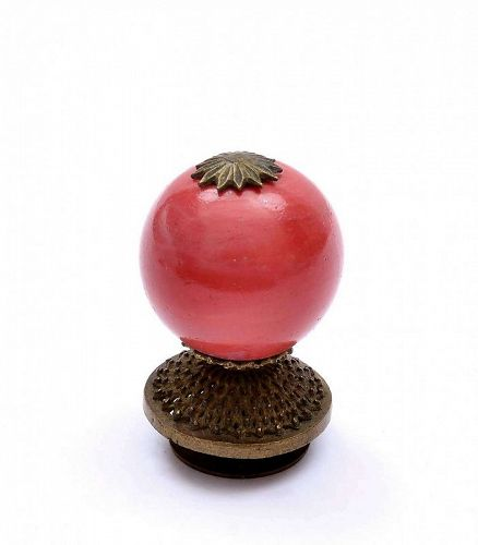 Old Chinese Brass & Red Peking Glass Mandarin Hat Finial Button