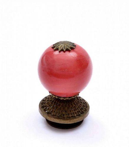 19C Chinese Brass & Pink Peking Glass Mandarin Hat Finial Button