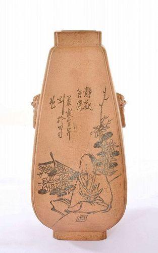 Old Chinese Yixing Zisha Pottery Vase Calligraphy Sg