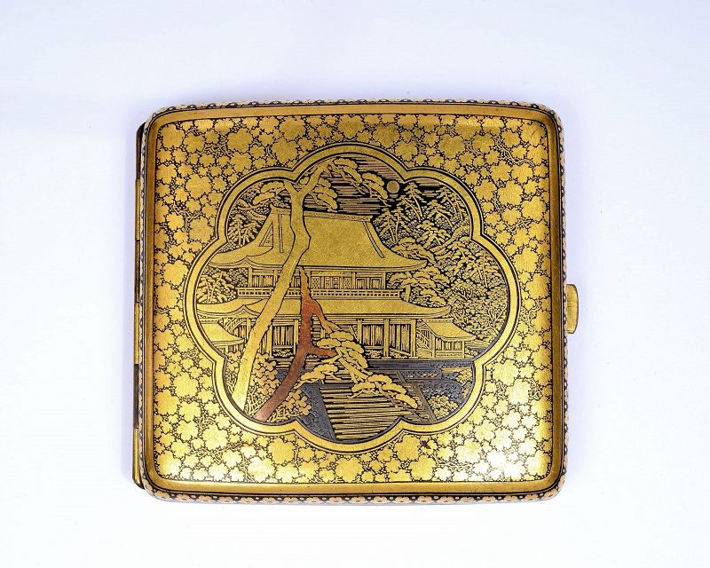 Old Japanese Mixed Metal Komai Style Cigarette Card Case Temple Scene