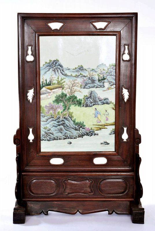 Chinese Famille Rose Porcelain Plaque Mountain Scene Wood Screen