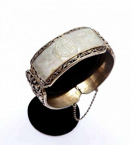 Old Chinese Solid Silver Jadeite Carved Bangle Bracelet Flower Bat Mk