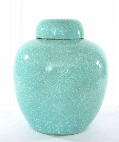 Old Chinese Light Green Glaze Ground Covered Ginger Jar Relief Flower