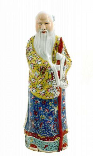"""Old Chinese Famille Rose Porcelain Shoulo God Longevity Buddha """"�建�館"""""""