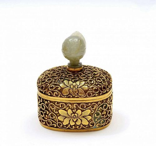 19C Chinese Jade Carved Finial Gilt Bronze Carved Lotus Box Mk