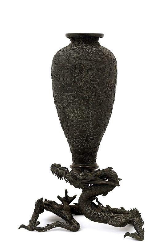 1900's Japanese Bronze Dragon Carry Vase Okimono
